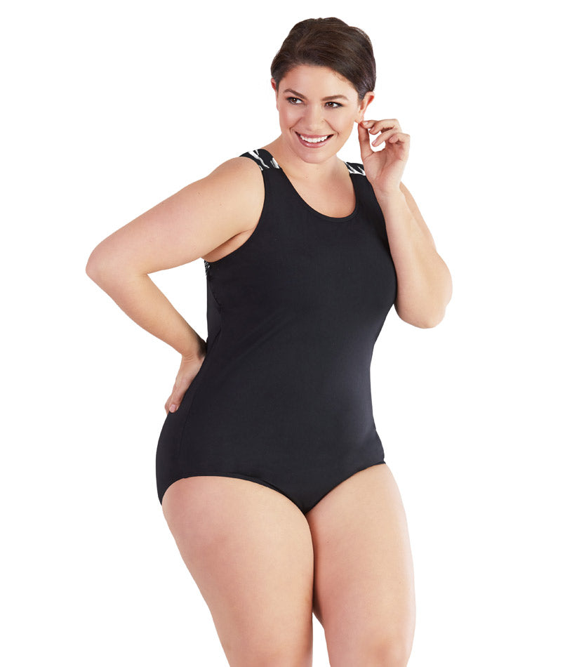 AquaSport™ One Piece Suit Black Brushstroke
