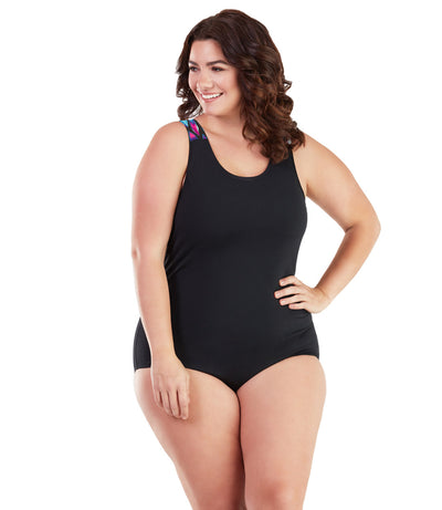 AquaSport Crossback One Piece Swimsuit Mermaid Black-Plus Size Swimwear and Swim Separates-SFO Apparel-1X-MERMAID BLACK-JunoActive
