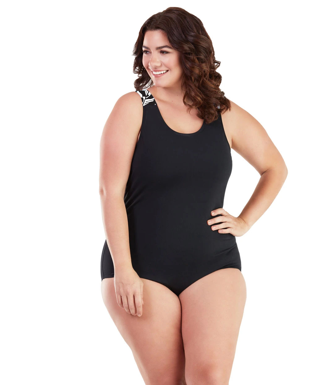AquaSport Crossback One Piece Swimsuit Tropical Black-Swim One Piece-SFO Apparel-JunoActive