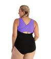 AquaSport Crossback One Piece Swimsuit Purple Black-Swim One Piece-SFO Apparel-XL-Purple/Black-JunoActive