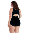 AquaSport™ One Piece Suit Black-Plus Size Swimwear and Swim Separates-SFO Apparel-JunoActive