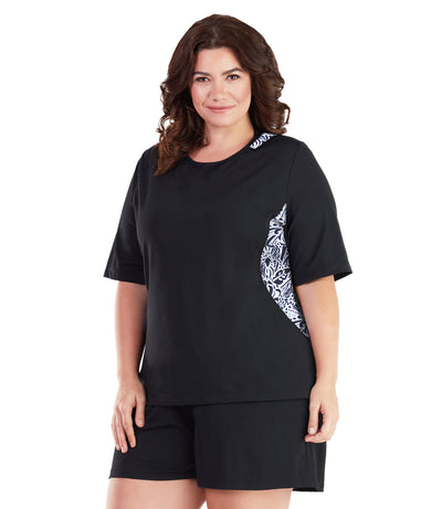 plus size swim shirt black