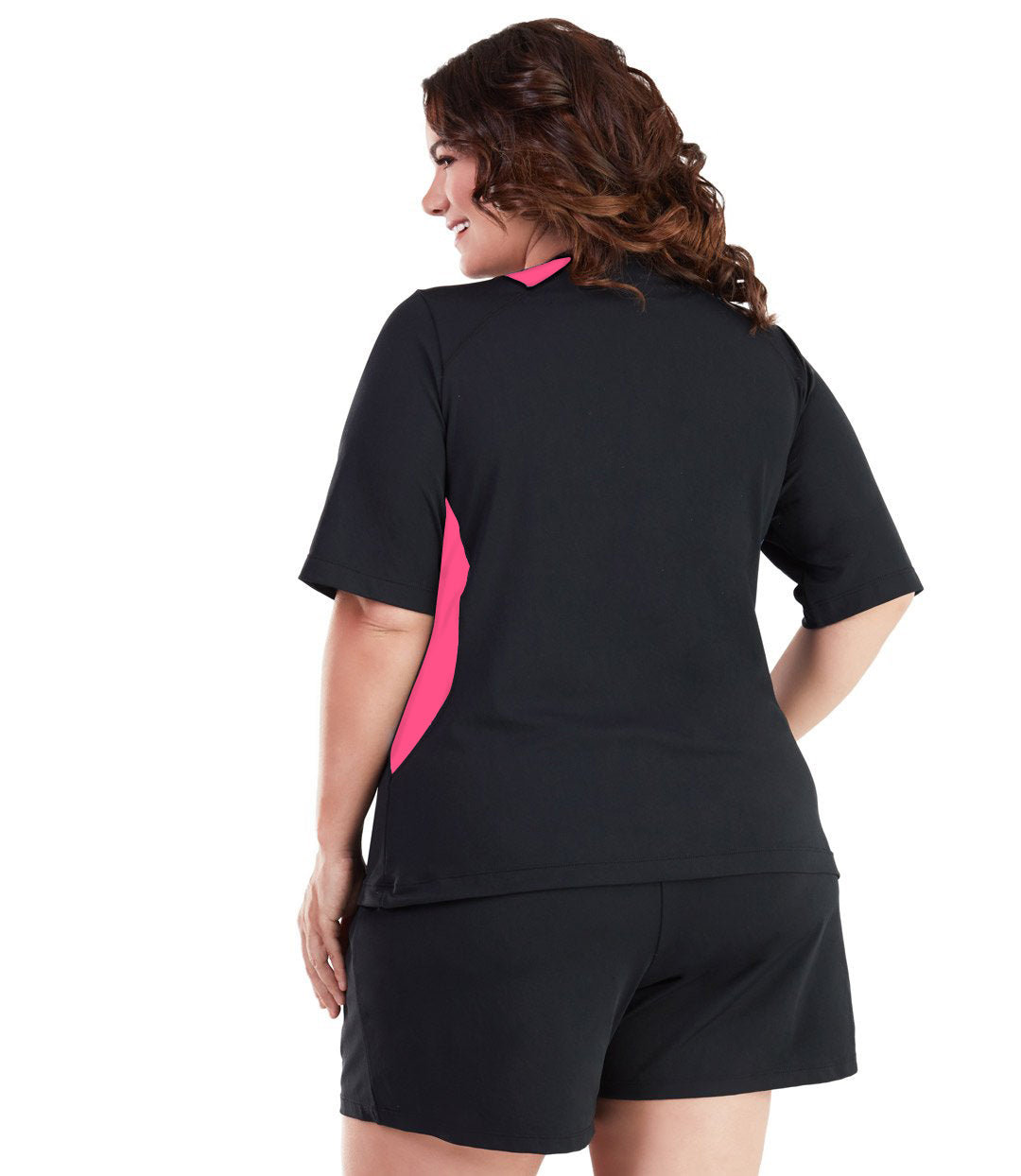 AquaSport Color Block Swim Tee Pink and Black-Swim Tops-SFO Apparel-XL-BLACK/PINK-JunoActive