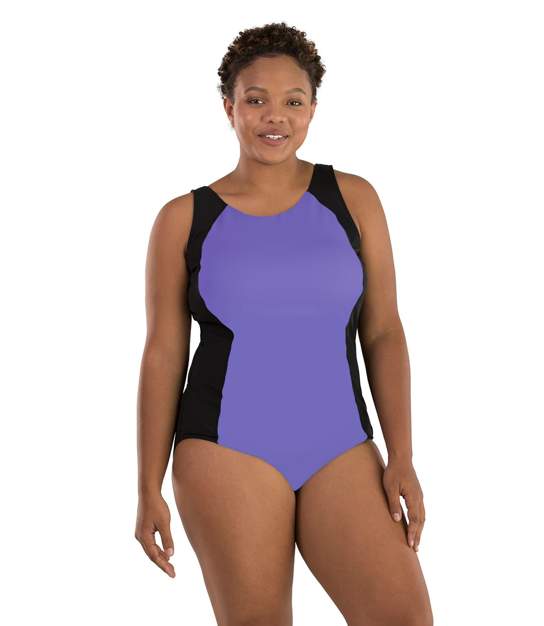 Aquasport Colorblock Tanksuit Purple and Black-Swim One Piece-SFO Apparel-XL-Purple/Black-JunoActive