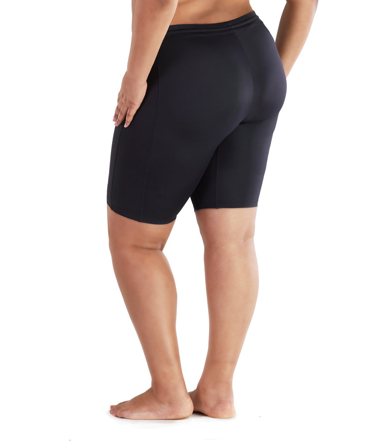 womens plus size swim shorts black