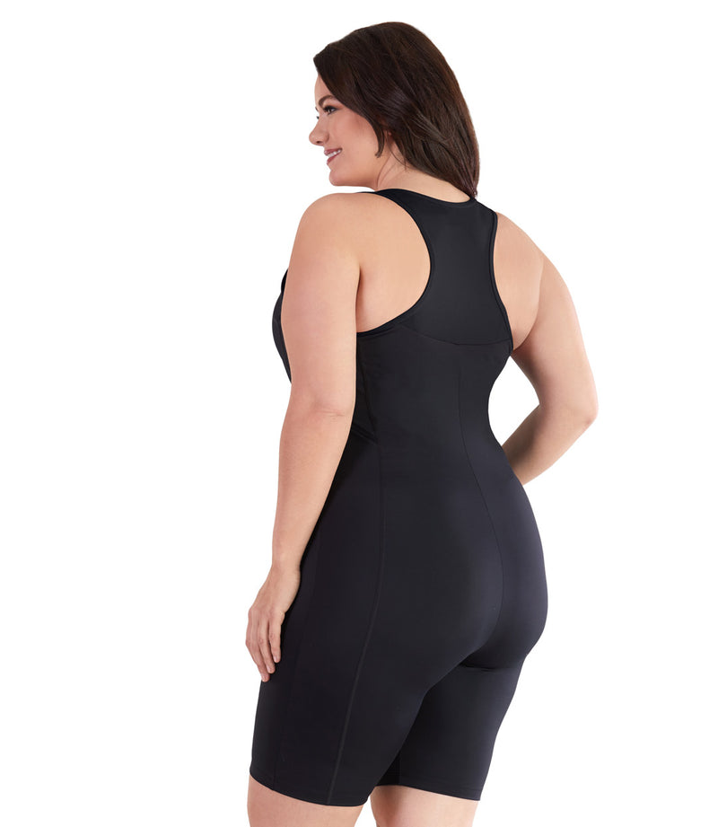 Plus size swimwear one piece swimsuit aquatard black