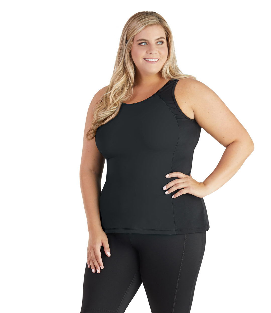 plus size swimwear top tankini black