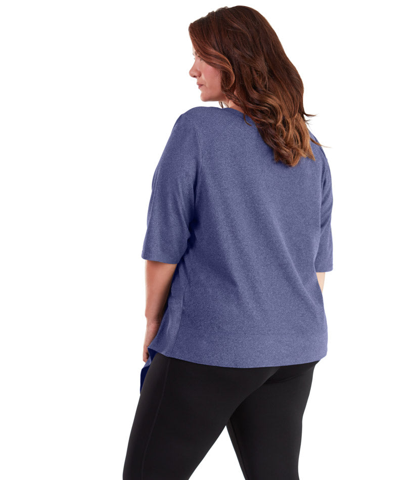 SoftWik® Asymmetrical 3/4 Sleeve Top Navy