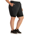 Dual Layer Walking Short-Bottoms Shorts-Foo Brothers-XL-Black-JunoActive
