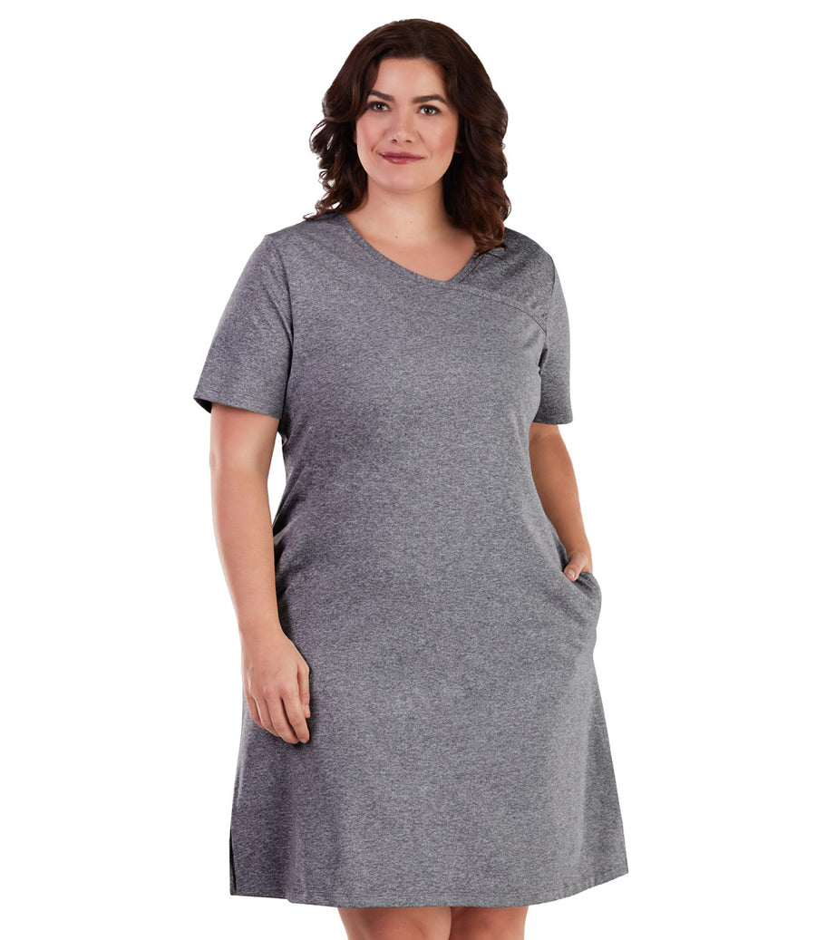 SoftWik® Short Sleeve Surplice Dress - JunoActive