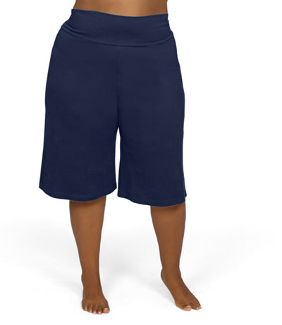 women's plus size shorts navy