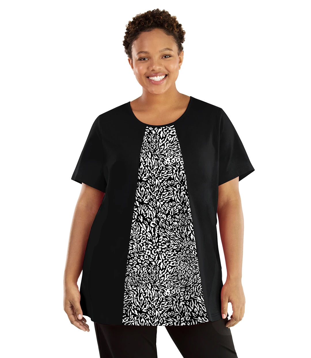 Stretch Naturals Lite Swing Top Black with Wild Print-Tops Short Sleeve Tunic-Hop Wo Trading Co Ltd-JunoActive