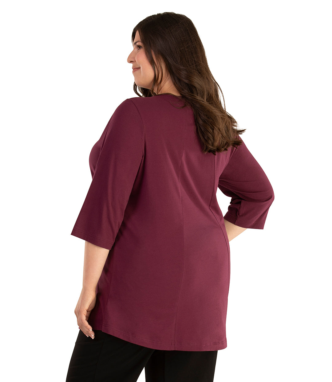 Stretch Naturals Lite 3/4 Sleeve Swing Top-Tops 3/4 Sleeve Tunic-Hop Wo Trading Co Ltd-XL-Dark Plum-JunoActive
