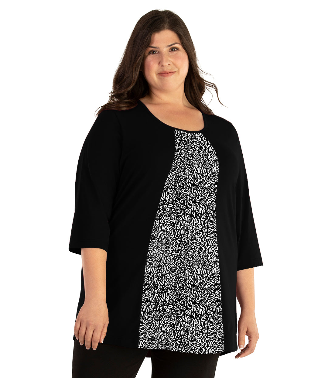 Stretch Naturals Lite 3/4 Sleeve Swing Top Black with Wild Print-Tops 3/4 Sleeve Tunic-Hop Wo Trading Co Ltd-XL-Black Wild Print-JunoActive