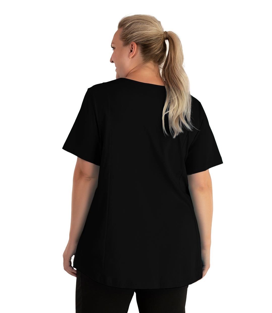 Stretch Naturals Lite V-neck Short Sleeve Princess Top Basic Colors-Tops Short Sleeve Tunic-Hop Wo Trading Co Ltd-XL-Black-JunoActive