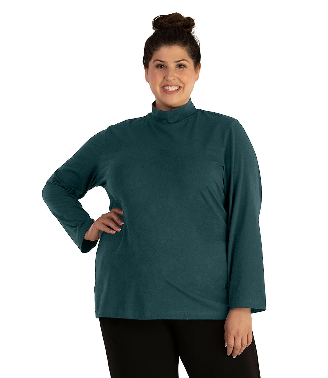 Stretch Naturals Lite Mock Neck Top-Tops Long Sleeve-Hop Wo Trading Co Ltd-XL-Spruce-JunoActive