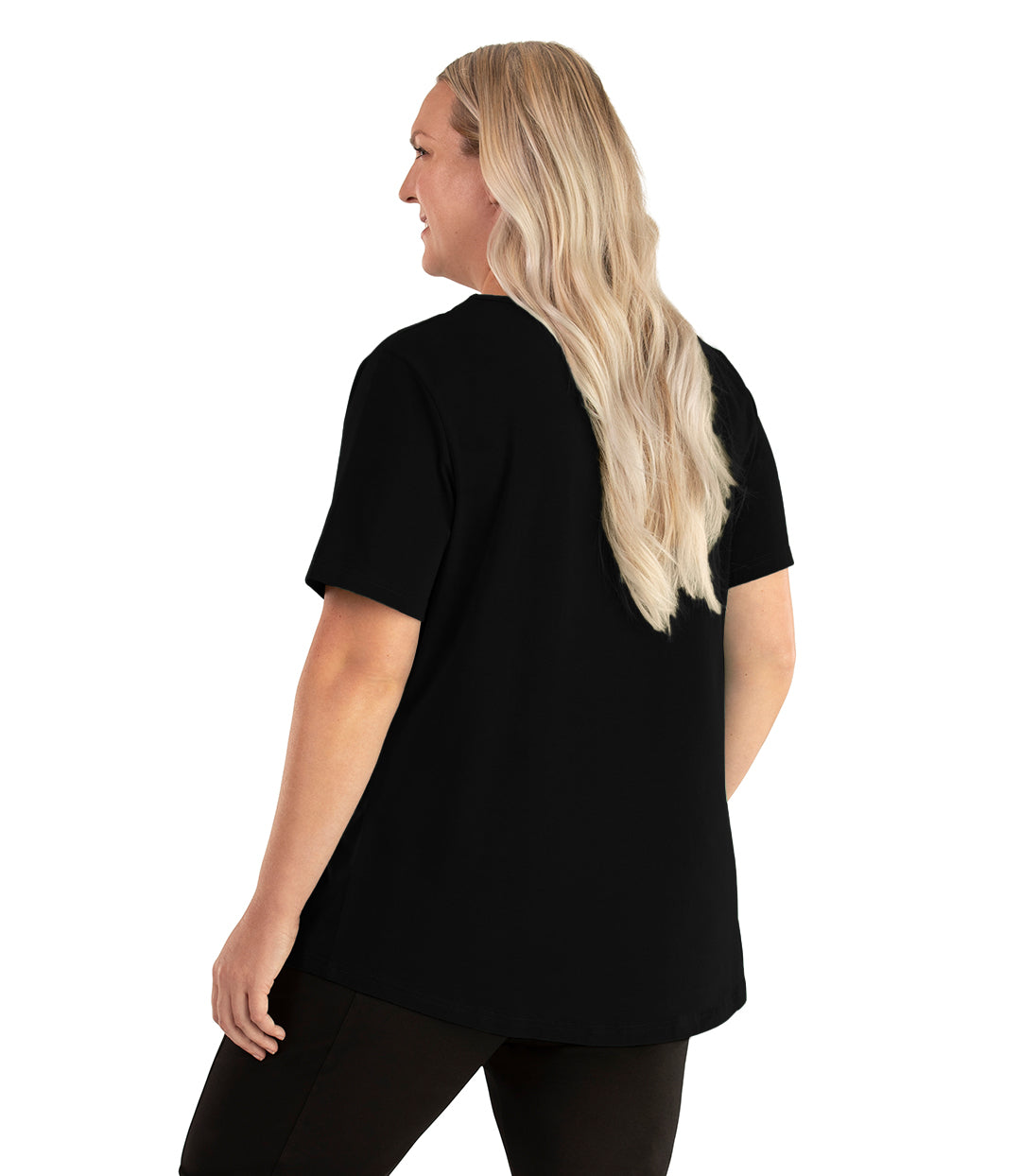 Stretch Naturals Lite Short Sleeve Scoop Neck Top Basic Colors-Tops Short Sleeve-Hop Wo Trading Co Ltd-XL-Black-JunoActive