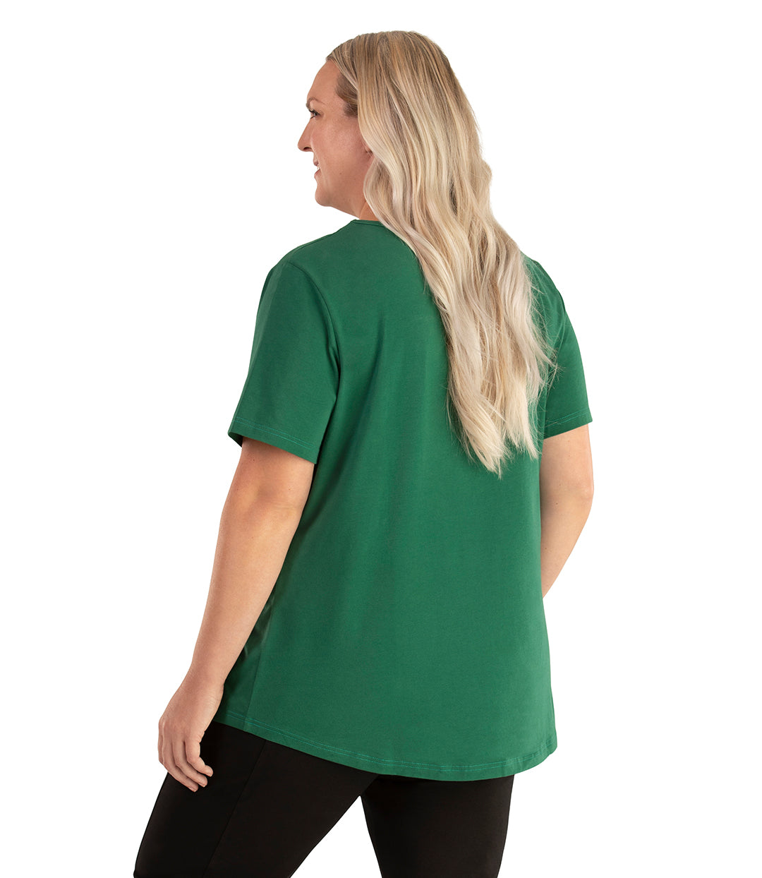 Stretch Naturals Lite Short Sleeve Scoop Neck Top Classic Colors-Tops Short Sleeve-Hop Wo Trading Co Ltd-XL-Forest Green-JunoActive