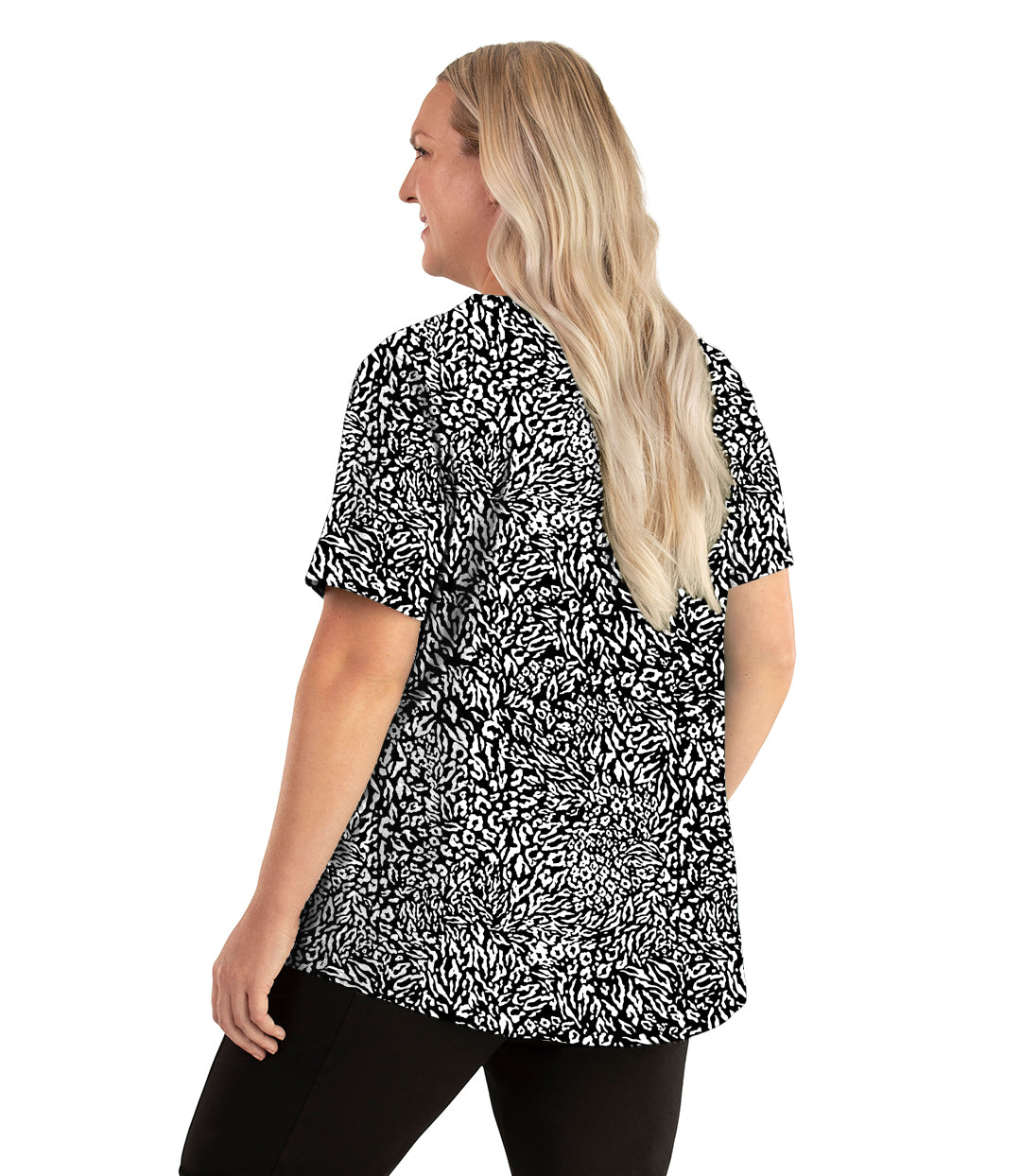 Stretch Naturals Lite Short Sleeve Scoop Neck Top Wild Print-Tops Short Sleeve-Hop Wo Trading Co Ltd-XL-Wild Print-JunoActive