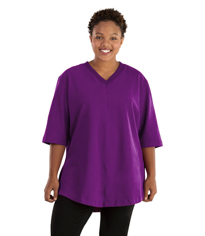 Seashell™ Cotton Casual Tunic-Tops 3/4 Sleeve Tunic-Hop Wo Trading Co Ltd-XL-Heliotrope Purple-JunoActive