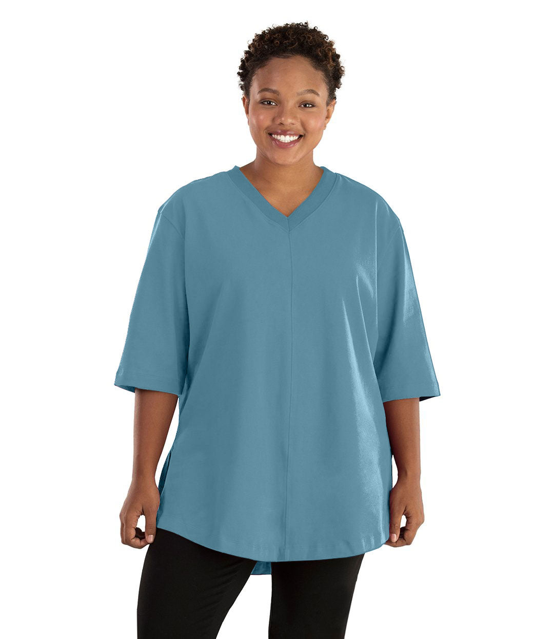 Legacy Cotton Casual Tunic Classic Colors-Tops 3/4 Sleeve Tunic-Hop Wo Trading Co Ltd-XL-Arctic Blue-JunoActive