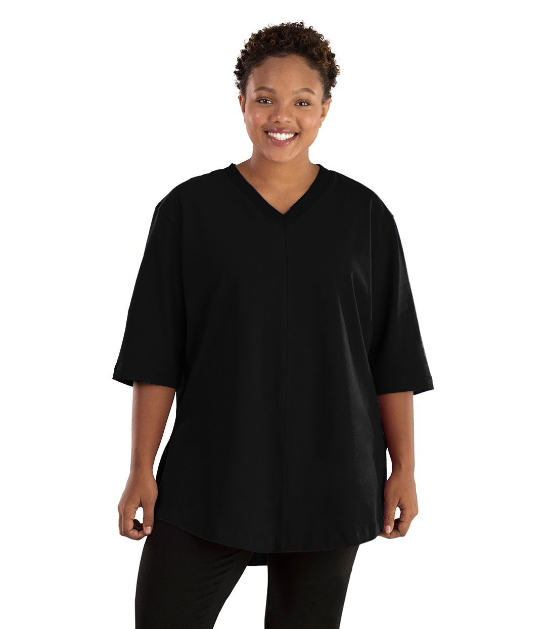 Legacy Cotton Casual Tunic Basic Colors-Tops 3/4 Sleeve Tunic-Hop Wo Trading Co Ltd-XL-Black-JunoActive