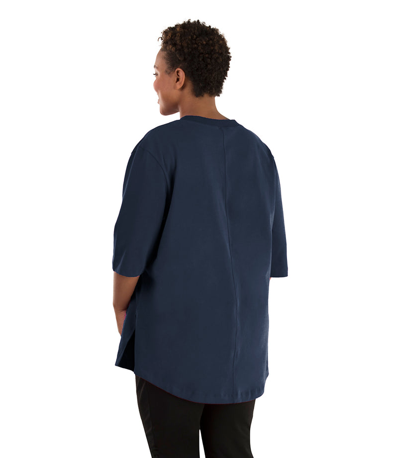 Seashell™ Cotton Casual Tunic-Plus Size Activewear & Athletic Clothing-Hop Wo Trading Co Ltd-1X-Navy Blue-JunoActive