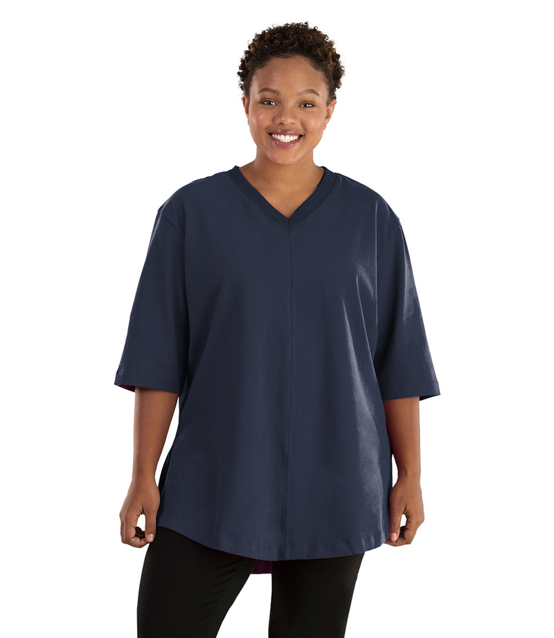 Seashell™ Cotton Casual Tunic-Plus Size Activewear & Athletic Clothing-Hop Wo Trading Co Ltd-1X-Merlot Red-JunoActive