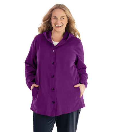 Seashell™ Cotton Casual Button Up Hoodie-Plus Size Outerwear Clothing-Hop Wo Trading Co Ltd-XL-Heliotrope Purple-JunoActive