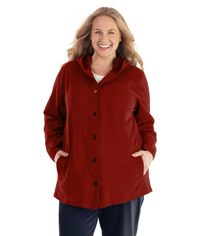 Seashell™ Cotton Casual Button Up Hoodie-Plus Size Outerwear Clothing-Hop Wo Trading Co Ltd-XL-Merlot Red-JunoActive
