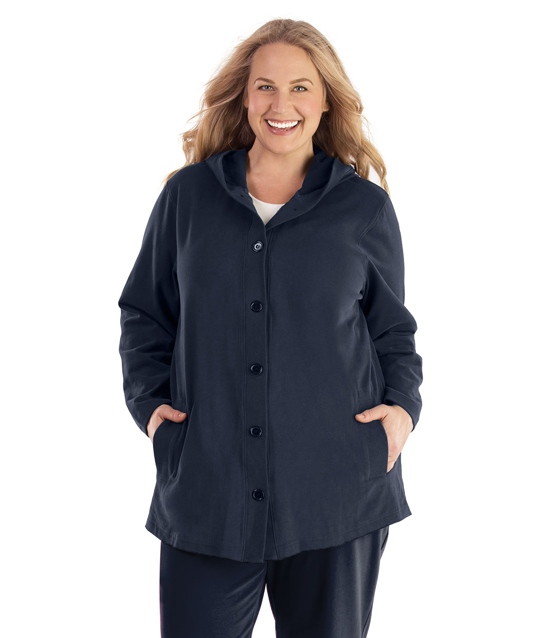 Seashell™ Cotton Casual Button Up Hoodie-Plus Size Outerwear Clothing-Hop Wo Trading Co Ltd-XL-Navy Blue-JunoActive
