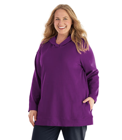 Seashell™ Cotton Casual Pullover Hoodie-Plus Size Outerwear Clothing-Hop Wo Trading Co Ltd-XL-Heliotrope Purple-JunoActive