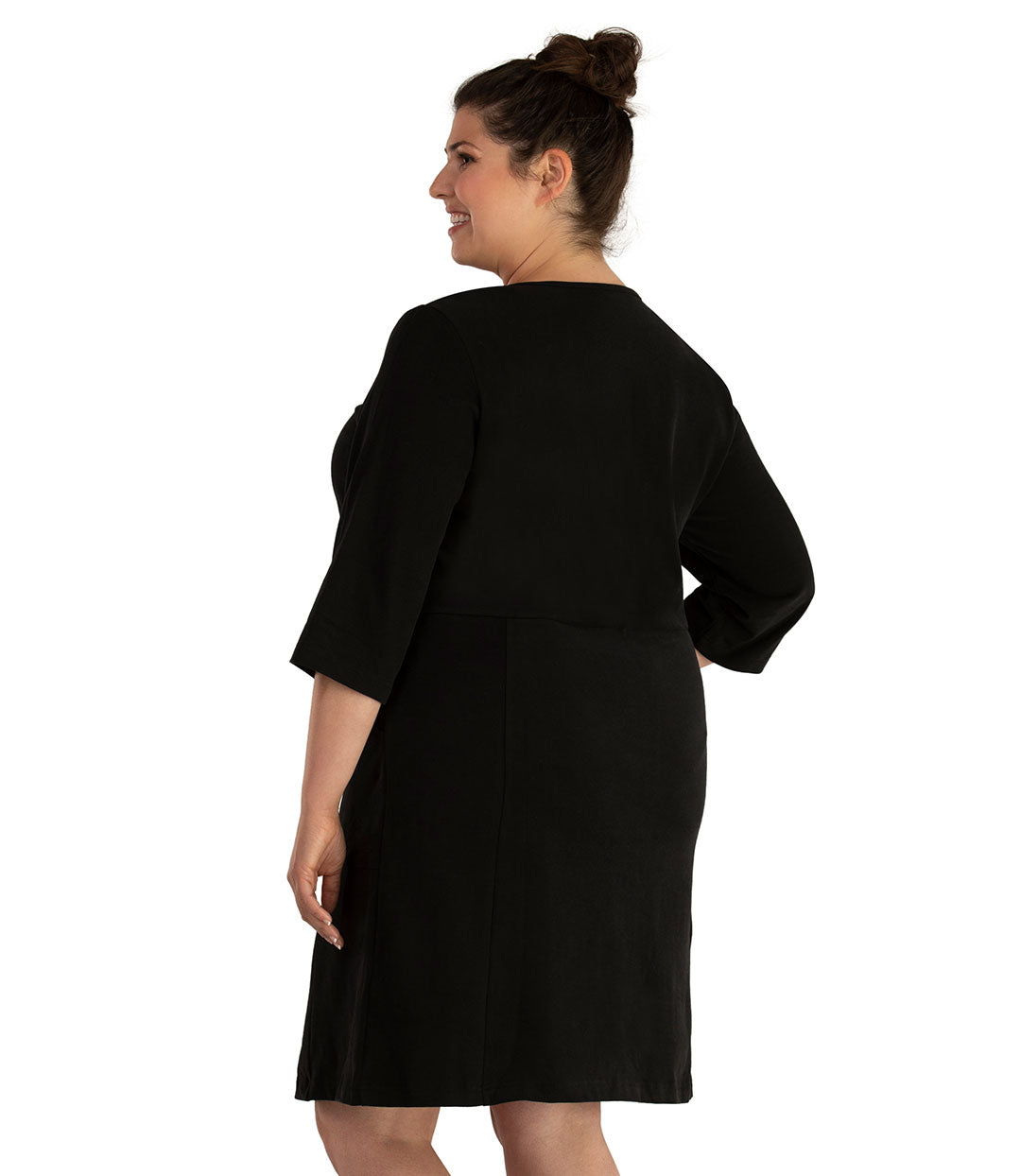 Legacy Cotton Casual 3/4 Sleeve Dress Basic Colors-Tops Dress-Hop Wo Trading Co Ltd-XL-Black-JunoActive