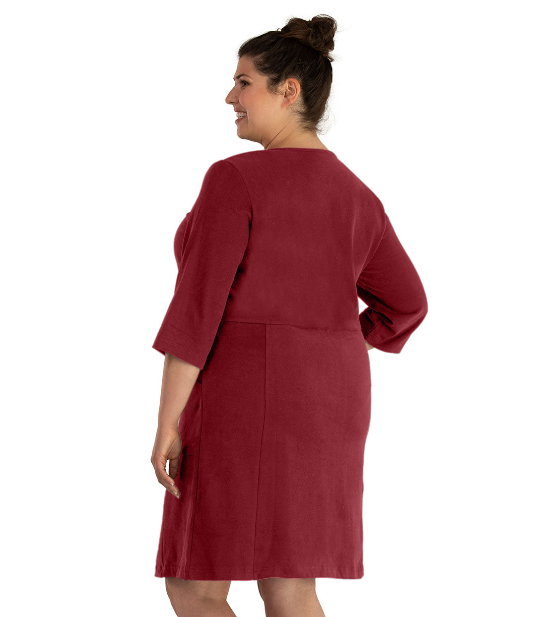 Legacy Cotton Casual 3/4 Sleeve Dress Classic Colors-Tops Dress-Hop Wo Trading Co Ltd-XL-Garnet-JunoActive