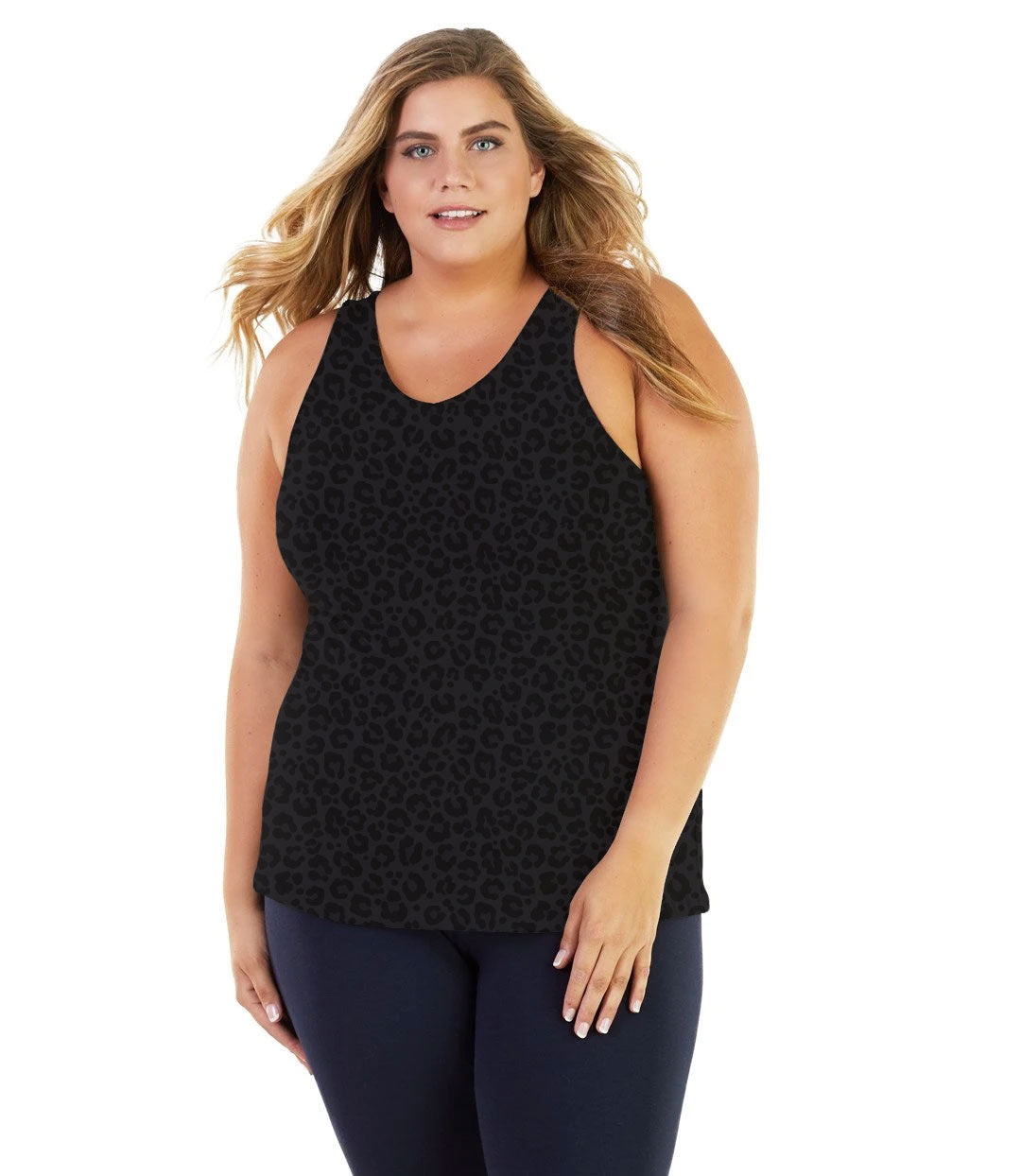 Stretch Naturals Long Support Tank Deep Leopard Print-Tops Tanks-Hop Wo Trading Co Ltd-XL-Deep Leopard Print-JunoActive
