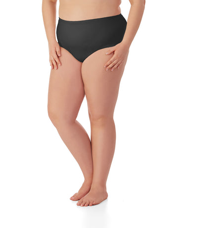 Junowear Cotton Stretch MidRise Brief-Plus Size Underwear & Intimates-Hop Wo Trading Co Ltd-1X-Black-JunoActive