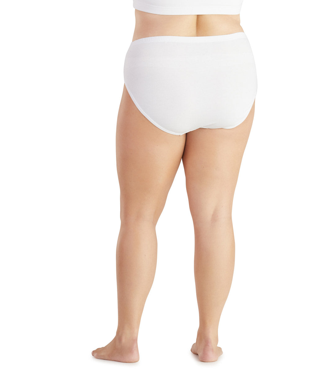Junowear Cotton Stretch MidRise Brief-Plus Size Underwear & Intimates-Hop Wo Trading Co Ltd-1X-White-JunoActive