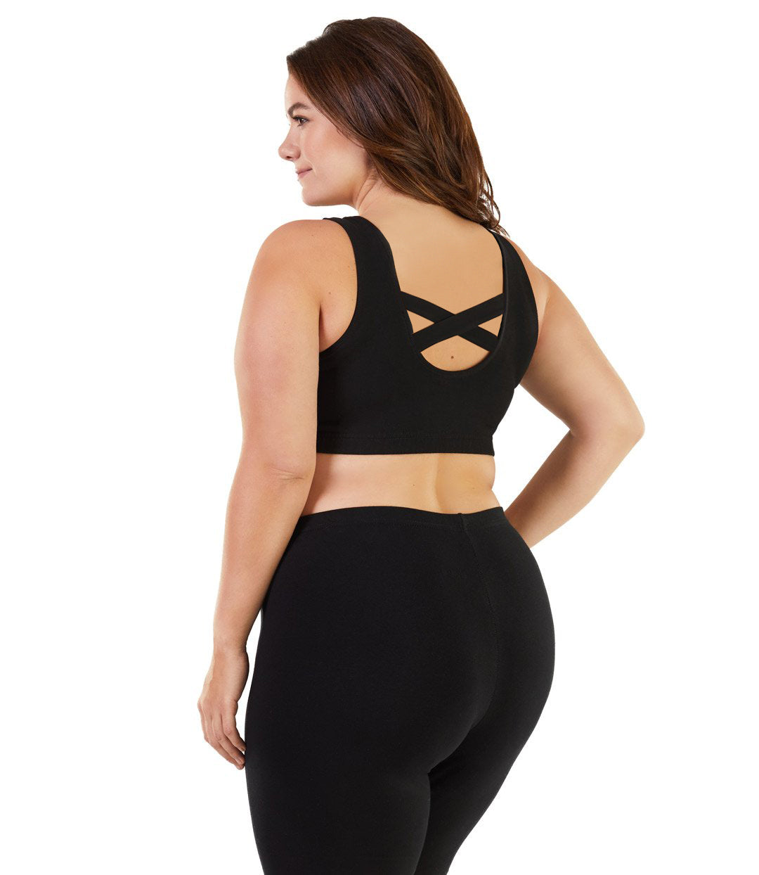 Stretch Naturals Crossback Bra Top Basic Colors-Intimates Bras-Hop Wo Trading Co Ltd-XL-Black-JunoActive