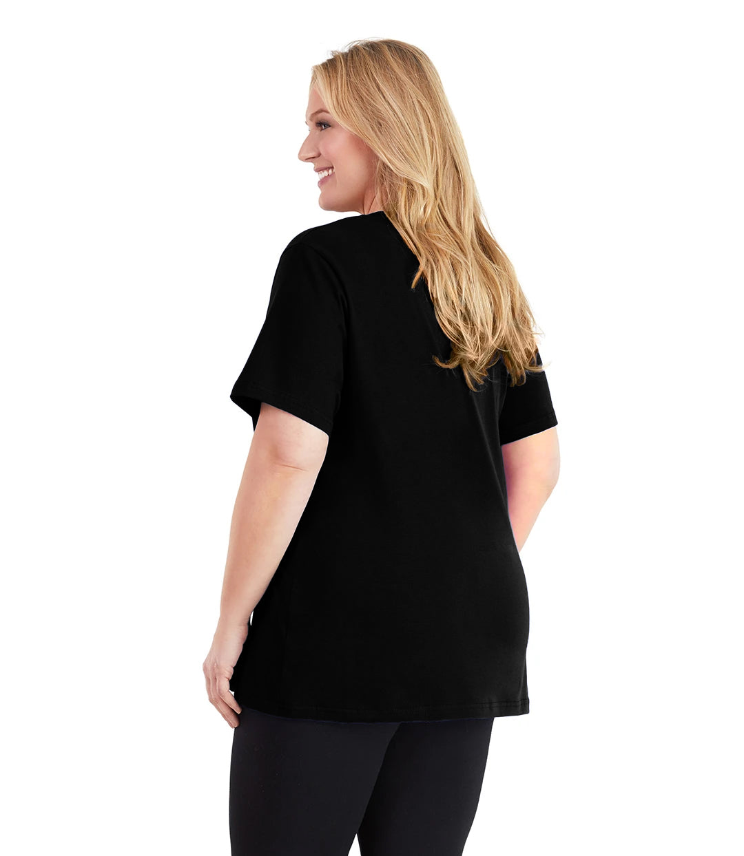 Stretch Naturals V-Neck Tee Basic Colors-Tops Short Sleeve-Hop Wo Trading Co Ltd-XL-Black-JunoActive