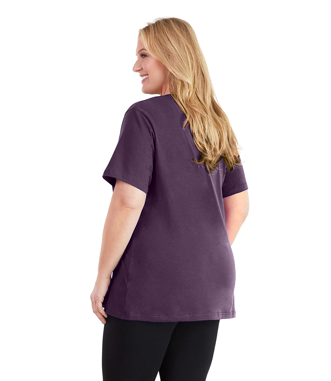 Stretch Naturals V-Neck Tee Classic Colors-Tops Short Sleeve-Hop Wo Trading Co Ltd-XL-Blackberry-JunoActive