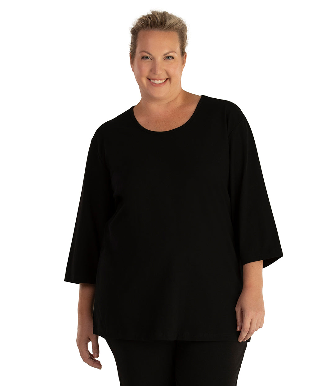 Stretch Naturals Scoop Neck 3/4 Sleeve Top Basic Colors-Tops 3/4 Sleeve-Hop Wo Trading Co Ltd-XL-Black-JunoActive