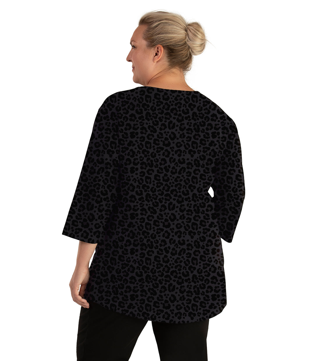 Stretch Naturals Scoop Neck 3/4 Sleeve Top Deep Leopard Print-Tops 3/4 Sleeve-Hop Wo Trading Co Ltd-XL-Deep Leopard Print-JunoActive