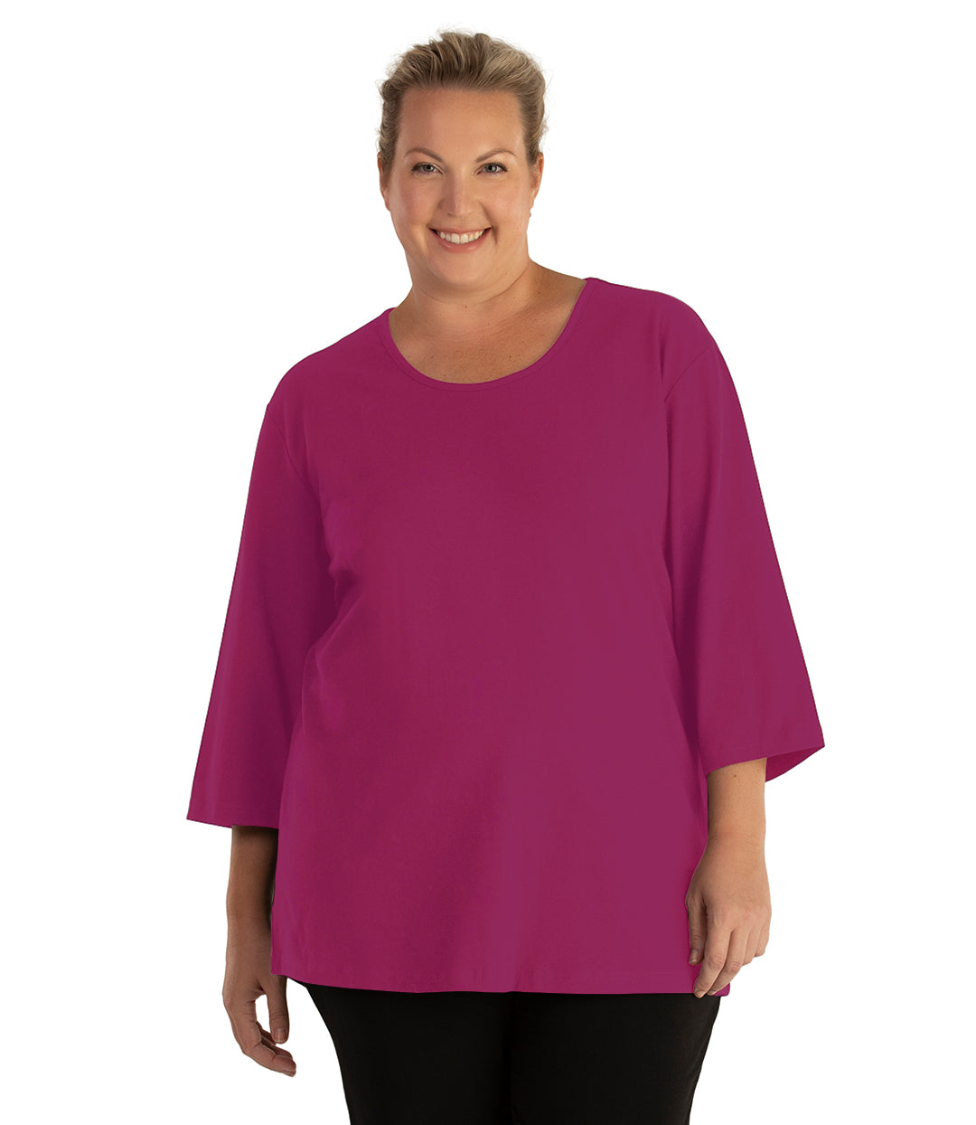 Stretch Naturals Scoop Neck 3/4 Sleeve Top Classic Colors-Tops 3/4 Sleeve-Hop Wo Trading Co Ltd-XL-Merlot-JunoActive