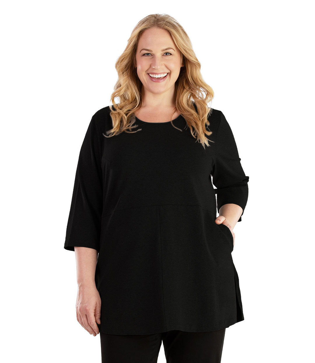 Stretch Naturals Empire Tunic with Pockets Basic Colors-Tops 3/4 Sleeve Tunic-Hop Wo Trading Co Ltd-XL-Black-JunoActive