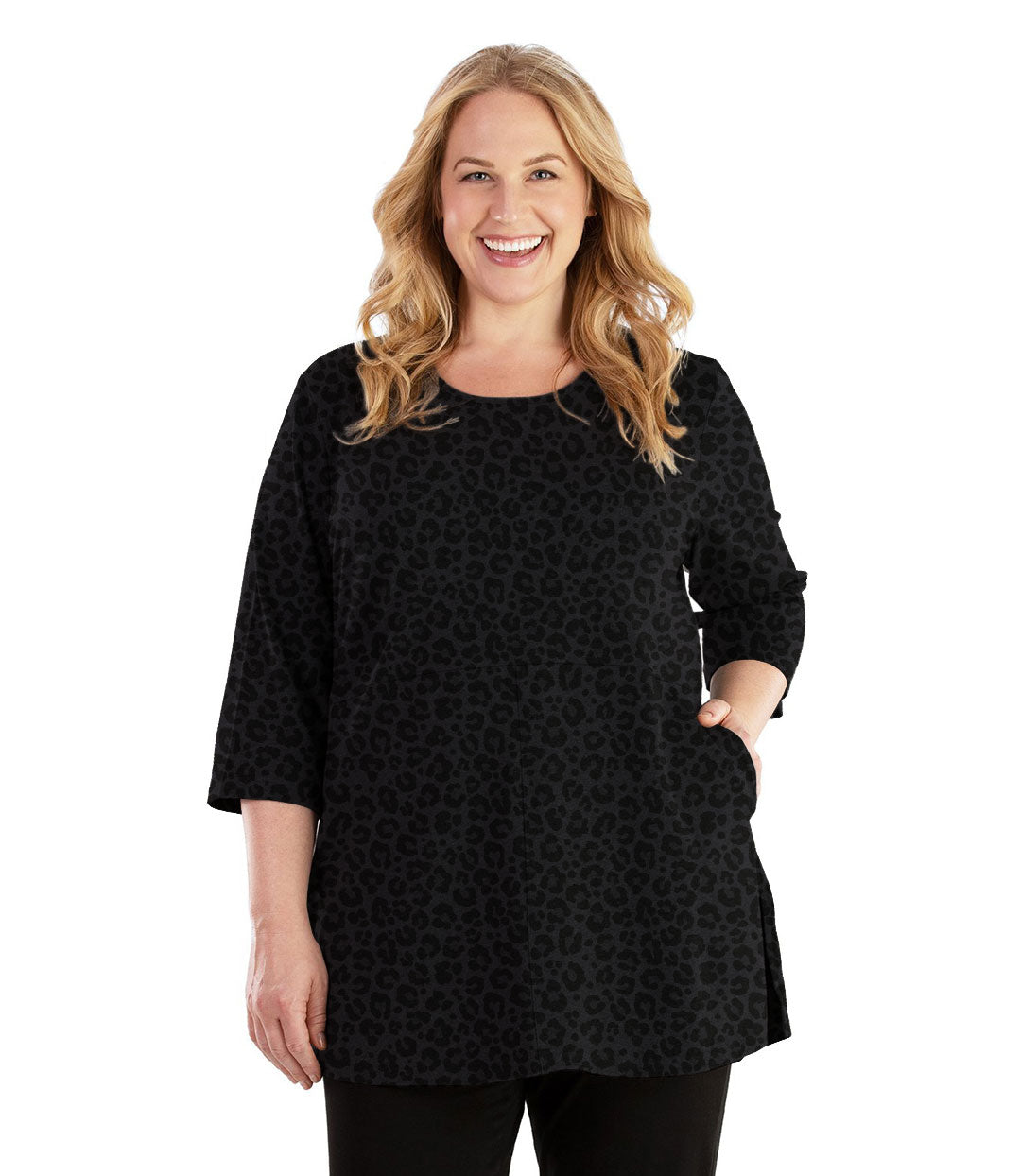 Stretch Naturals Empire Tunic with Pockets Deep Leopard Print-Tops 3/4 Sleeve Tunic-Hop Wo Trading Co Ltd-XL-Deep Leopard Print-JunoActive
