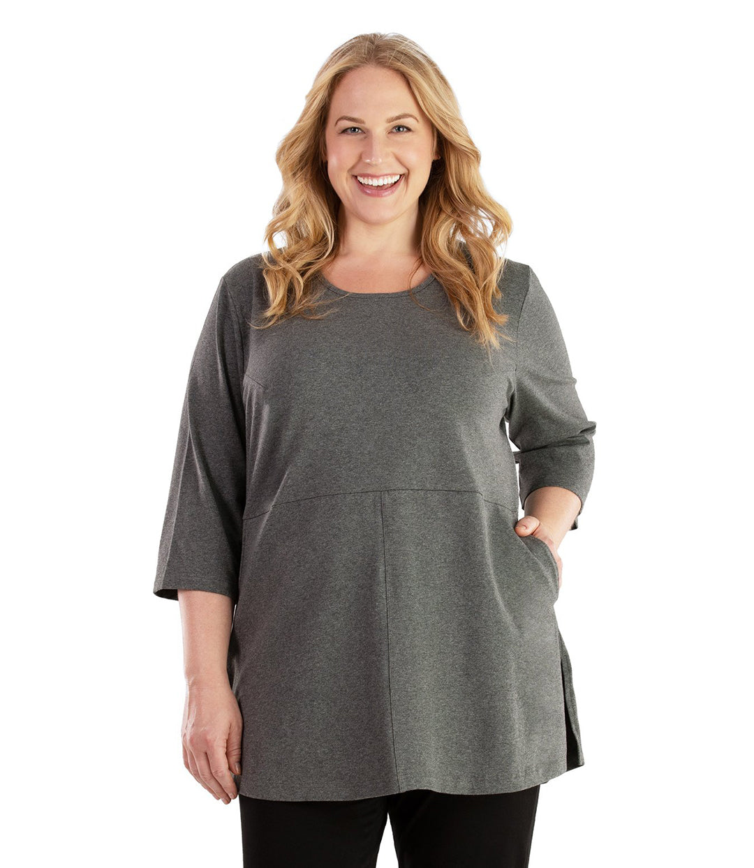 Stretch Naturals Empire Tunic with Pockets-Plus Size Activewear & Athletic Clothing-Hop Wo Trading Co Ltd-XL-Heather Charcoal-JunoActive