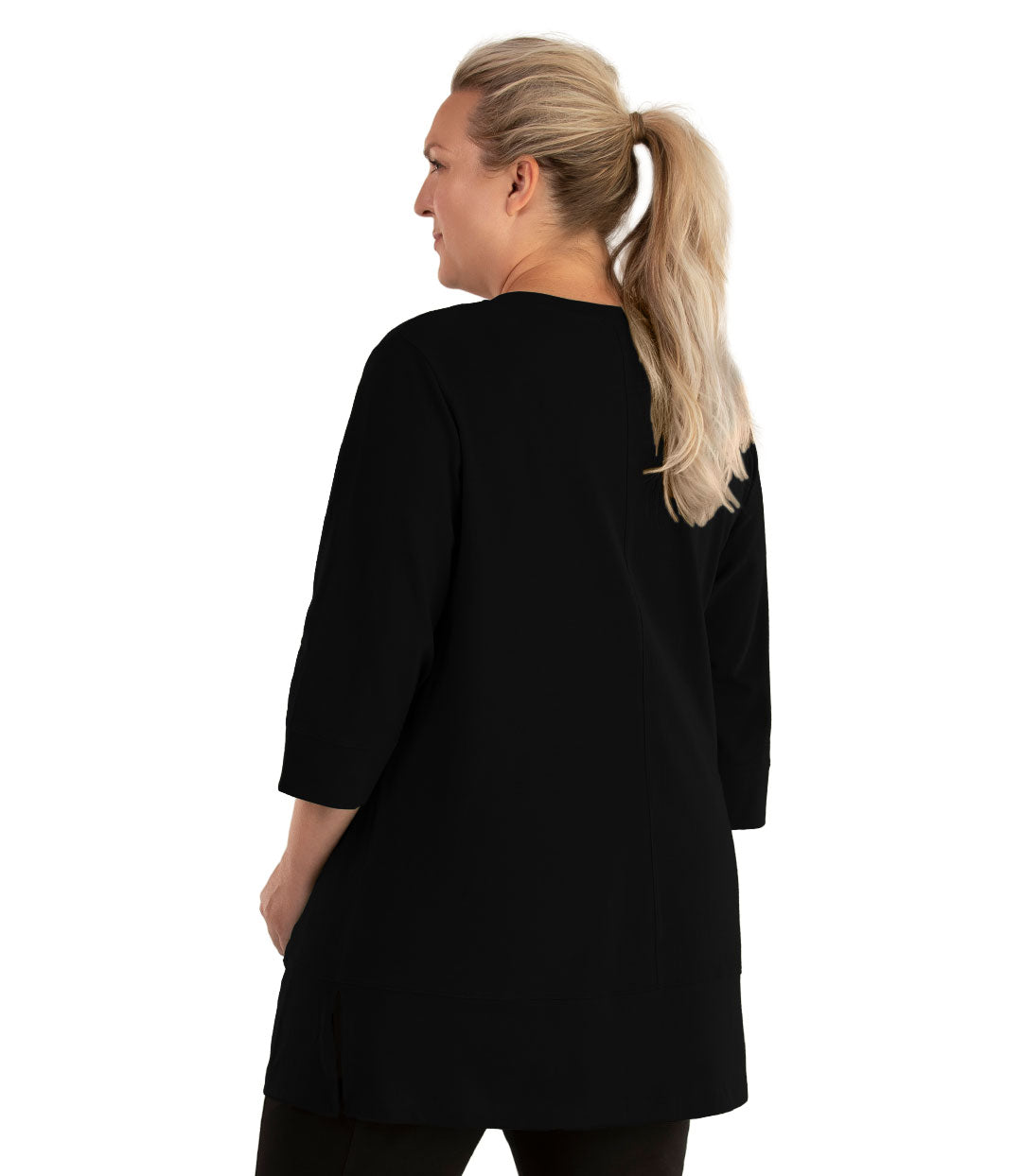Stretch Naturals Princess V-neck Tunic Basic Colors-Tops 3/4 Sleeve Tunic-Hop Wo Trading Co Ltd-XL-Black-JunoActive
