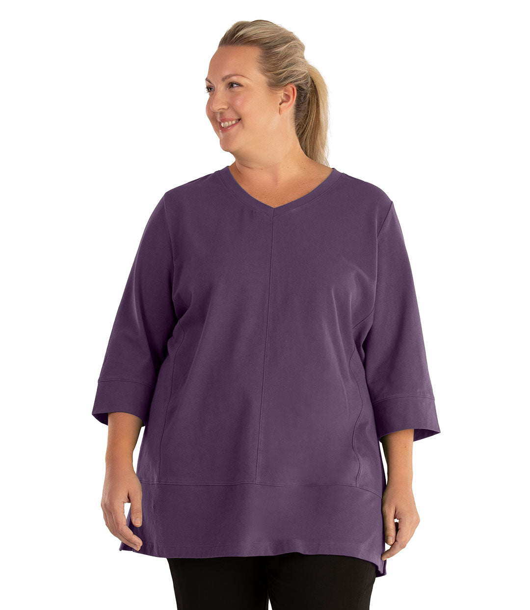 Stretch Naturals Princess V-Neck Tunic Classic Colors-Tops 3/4 Sleeve Tunic-Hop Wo Trading Co Ltd-XL-Blackberry-JunoActive