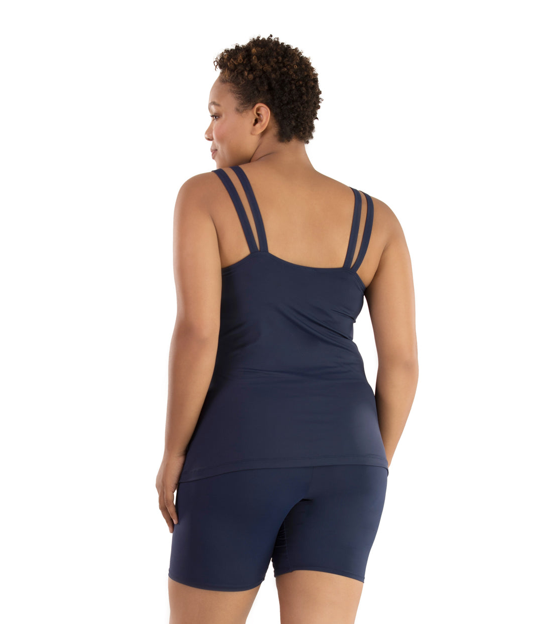 Junowear Hush Strappy Cami with Bra-Plus Size Underwear & Intimates-Hop Wo Trading Co Ltd-1X-NAVY BLUE-JunoActive