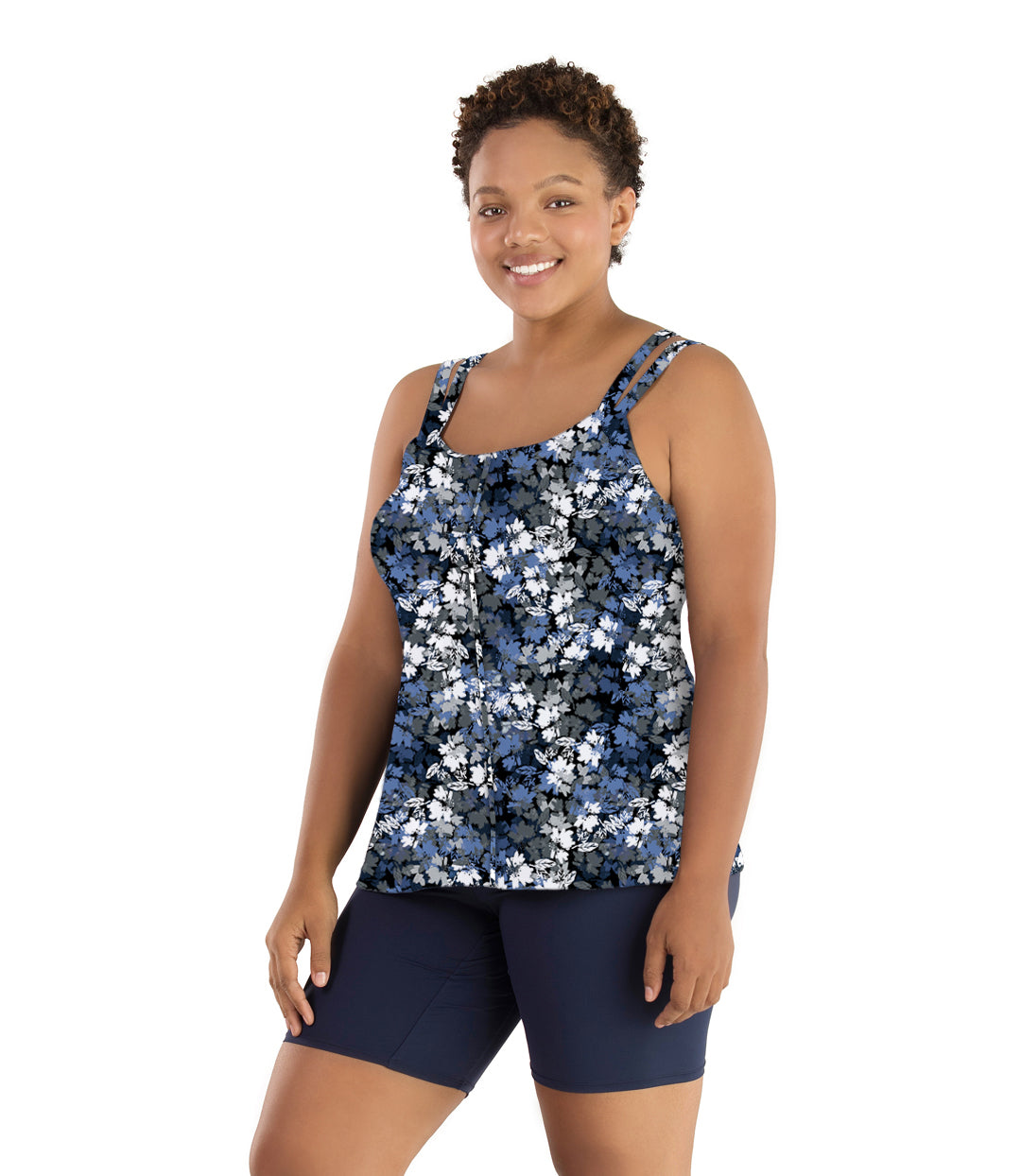Junowear Hush Strappy Cami with Bra Blue Floral Print-Tops Tanks-Hop Wo Trading Co Ltd-1X-Blue Floral-JunoActive